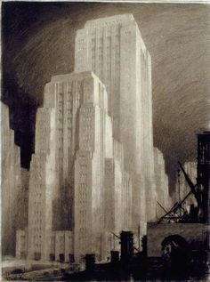 Futurism in Architecture. Hugh Ferriss – was an American visionary architect who created perspective drawings of futuristic buildings. With is drawings, he influenced whole generation of. Architecture Drawings, Architecture Design, Building Drawing, Art Deco Buildings, Perspective Drawing, Retro Futurism, Nocturne, Dieselpunk, Designs To Draw