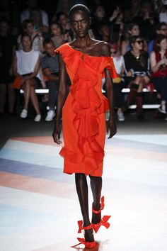 Christian Siriano   Spring 2017 RTW fashion collection   Red hot ruffled dress