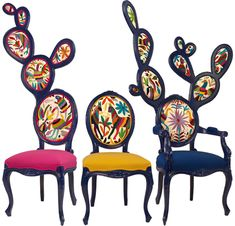 Mexican designer Valentina Gonzalez Wohlers has cleverly and humorously transformed the classic French Louis XV oval chair into the shape of a Nopal cactus. Add multicolored Otomi upholstery and I officially need at least one in my home Funky Furniture, Painted Furniture, Mexican Furniture, Unusual Furniture, Furniture Update, Western Furniture, Furniture Decor, Furniture Design, Home Decor Accessories