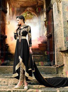 Black Designer Indian pant style anarkali suit in georgette I15103