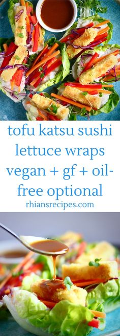 Jul 2017 - Tofu Katsu Sushi Lettuce Wraps (Vegan + GF) These Tofu Katsu Sushi Lettuce Wraps are satisfying, flavourful and packed with plant-based goodness. Vegan, gluten-free and oil-free optional. With a delicious miso sauce recipe. Vegan Dessert Recipes, Tofu Recipes, Sauce Recipes, Wrap Recipes, Recipies, Vegan Sushi, Vegan Vegetarian, Vegetarian Recipes, Vegan Food