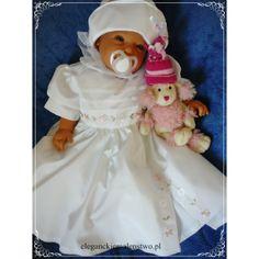 Urocza #sukienka do #chrztu z delikatnymi haftowanymi kwiatuszkami