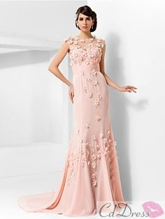 Gorgeous Trumpet/Mermaid Jewel Court Train Chiffon And Tulle Evening Dress