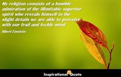Albert Einstein – My religion consists of a humble admiration of the illimitable superior spirit who reveals himself in the slight details we are able to perceive with our frail and feeble mind