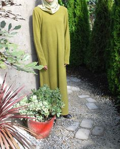 "Another of the images from the Heartland Hijab photo shoot. (Currently listed on eBay: Green Fall / Winter Weight Abaya, Sz L 40"" Chest 53"" Long, Muslim Womens Clothes)"