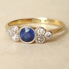 Edwardian Sapphire and Diamond Ring, Sapphire Platinum and 18k Gold Diamond Ring--Ab-solutely perfect.
