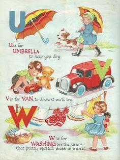 "Vintage children's ABC book ~ ""U-W"" www.retrogoddess.blogspot.com"