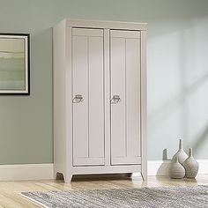 For a spacious storage unit that also emphasizes your modern room design, choose the Sauder Adept Wide Storage Cabinet - Cobblestone . This wide. Farmhouse Storage Cabinets, Farmhouse Bookcases, Bookcase Storage, Tall Cabinet Storage, Storage Chest, Modern Room Design, Home Decor Quotes, Organizing Your Home, Organizing Ideas