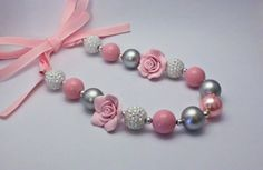Chunky Gumball Necklace - Grey and Pink