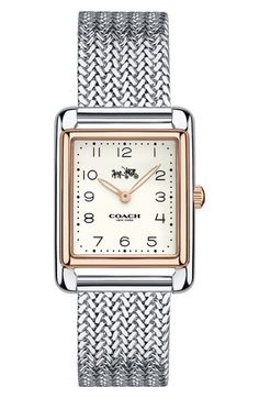 Coach Women's Page Stainless Steel Bracelet Watch 14502664 Mesh Bracelet, Bracelet Watch, Bracelets, Stainless Steel Mesh, Stainless Steel Bracelet, Watch Photo, Elegant Watches, Square Watch, Stone Jewelry