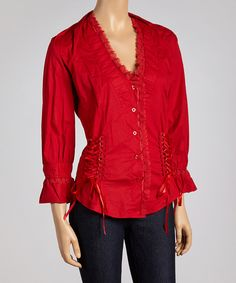 Take a look at this Red Corset Button-Up - Women on zulily today!