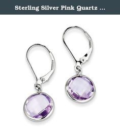 Sterling Silver Pink Quartz Earrings. Product Type:Jewelry Jewelry Type:Earrings Earring Type:Drop & Dangle Material: Primary:Sterling Silver Material: Primary - Color:White Material: Primary - Purity:925 Length of Item:28 mm Width of Item:11 mm Earring Closure:Leverback Stone Type_1:Rose de France, Amethyst Stone Shape_1:Round Stone Color_1:Purple Stone Size_1:10 mm Stone Quantity_1:2 Stone Weight_1:2.970 ct .