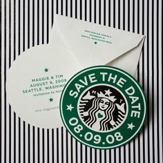 i love starbucks! starbucks themed wedding invitations http://www.chereeberry.com/