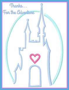 Princess Castle Sketch Digital Embroidery Machine  Design File 4x4  5x7 6x10 by Thanks4TheAdventure on Etsy