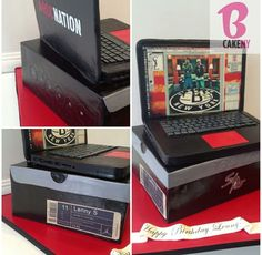 Laptop on top of Jordan box by B Cake NY