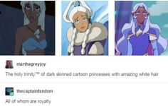Queen Kida/Atlantis, Princess Yui/ATLA and Princess Allura/Voltron Legendary defender//all of who are awesome. Avatar The Last Airbender Art, Avatar Aang, Disney And Dreamworks, Disney Pixar, Teen Titans, Kida Atlantis, Rwby, Fandom Crossover, Fandoms