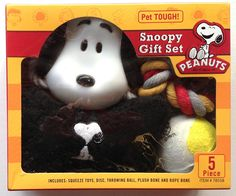 Peanuts SNOOPY Pet Tough! 5 Piece DOG TOYS GIFT SET Ball, Bone and Squeak Toys ** Click on the image for additional details. (This is an affiliate link) #DogToys