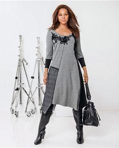 Castaluna- Robe bi-matière grande taille femme TAILLISSIME
