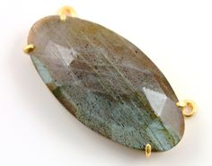Natural Rose Cut Labradorite Handcrafted & Prong Set in Sterling Silver w/ 24k Gold Vermeil, Statement Necklace, Sold as 1 Piece (BKC/9077) by Beadspoint on Etsy