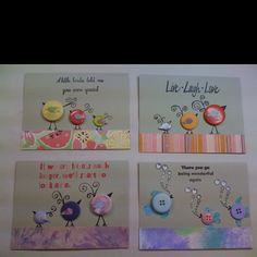 Button critters on greeting cards!  Fun!