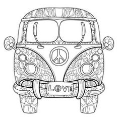 Hand drawn doodle outline retro bus travel decorated with ornaments front view.Sketch for tattoo or coloring pages. - Buy this stock vector and explore similar vectors at Adobe Stock Mini Vans, Hippie Vans For Sale, Combi Hippie, Van Drawing, Dibujos Zentangle Art, Retro Bus, Music Drawings, Hippie Art, Floral Illustrations