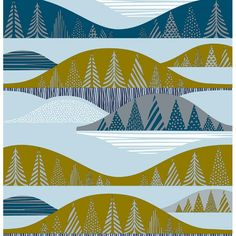 Marimekko Kultakero Grey/Olive/Blue Fabric, $53.00 per yard (could stretch over canvas frame and hang on wall!)
