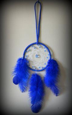 3'' Royal blue Dream Catcher with glass by DreamySummerNights, $7.00