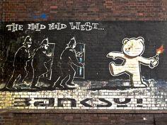 Banksy original graffiti photographed in Bristol, UK.