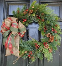 Items similar to Christmas Wreath Holiday Wreath Wiinter Wreath Evergreen Pine Cranberries Pinecones Burlap Bow 20 inch on Etsy Noel Christmas, Country Christmas, All Things Christmas, Winter Christmas, Christmas Crafts, Christmas Decorations, Holiday Decor, Burlap Christmas, Burlap Halloween