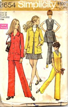 1960s Simplicity 8654 Misses MOD V Neck Sleeveless Jumpsuit Front Wrap Mini Skirt and Lined Jacket womens vintage sewing pattern by mbchills