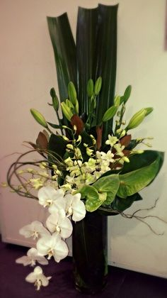 Tall Green & White Corporate Vase Arrangement with antherium, lillies & orchids
