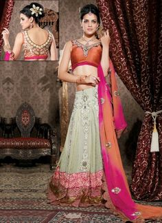 Enliven the party atmosphere with your ethereal enrapture in this green and coral Lehenga. Captivating everyone's attention at the party, your sensuous looks, in this thread embroidered party Lehenga made from Georgette fabric, would stand out to be a true embodiment of surreal beauty.