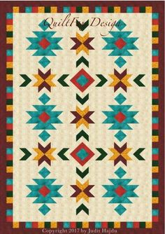 Southwest quilt pattern – throw size: 52 in. x 76 in - quilt patterns Quilt Block Patterns, Quilt Blocks, Canvas Patterns, Quilting Projects, Quilting Designs, Southwestern Quilts, Seminole Patchwork, History Of Quilting, Native American Patterns