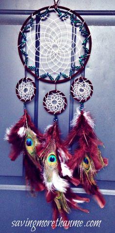DIY Peacock Dreamcatcher savingmorethanme.com