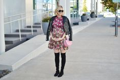 mixed print floral dress, over the knee boots, fall outfit idea, stylish maternity outfit, leather moto jacket