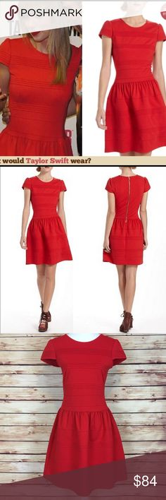 Anthropologie Pintucked Ponte Dress Red Fit &Flare Anthropologie Girls From Savoy Pintucked Ponte dress. Red. Fit and flare. Cap sleeve. Partially ribbed. Exposed gold back zipper. Taylor Swift wore the same dress. Size 6. 75% polyester, 20% rayon, 5% spandex. Excellent preowned condition with no flaws. Anthropologie Dresses