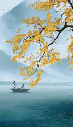 asian illustration, autumn lake