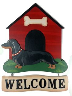 """Black & Tan Dachshund Hand Crafted US Made Welcome Wooden Greeting Sign - 12"""" x 15"""""""