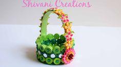 Paper Quilling Basket/ Green Paper Strip Basket/ DIY Flower Basket