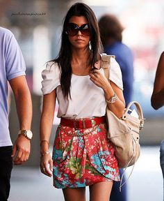 rebecca minkoff top, tibi skirt, vintage chanel belt, christian louboutin shoes, tom ford sunglasses, balenciaga bag.