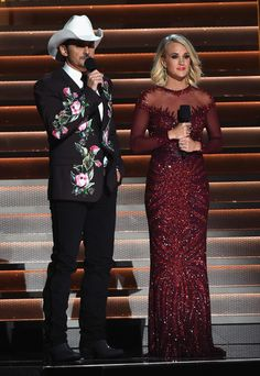 Co-hosts Brad Paisley and Carrie Underwood perform onstage at the 50th annual CMA Awards at the Bridgestone Arena on November 2, 2016 in Nashville, Tennessee.