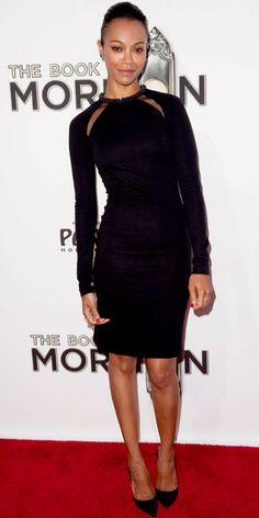 Zoe Saldana wearing a Stella McCartney sheath and patent leather pumps.