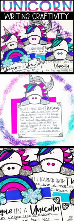 Unicorn Writing Craftivity. Great writing prompts about unicorns and ties well with Thelma the Unicorn book!