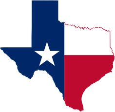 Mapa do Texas - Bandeira