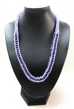 Spool knitted purple necklace  with wood beads handmade by artefyk, $27.50