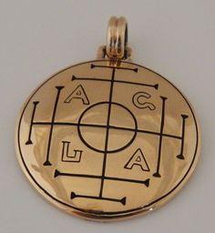 Medieval MONEY Talisman Gold tone Bronze AGLA WEALTH Pendant SUCCESS Amulet