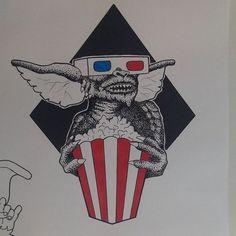@amand.ink Tattoo flash of the day !  #tattoflash  #tattooidea  #dotwork  #gremlins #gremlinstattoos  #art  #artist  #justartspiration  #chameleonpens  #funtattoo  #illustration  #popcorn