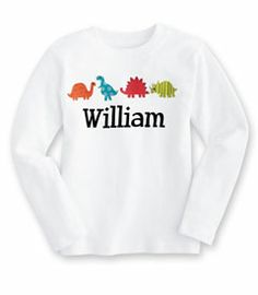personalized dinosaur tee - these colorful dinosaurs are not only fun to wear, but our personalization makes it a keepsake.