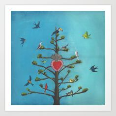 agave tree of life with birds and milagro mexican heart. Available in affordable prints and print on demand variety of products