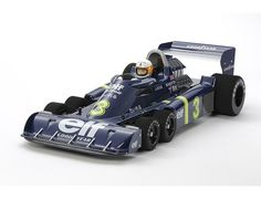 The Tamiya Limited Edition R/C Tyrrell P34 Six Wheeler - 1976 Japan GP is a rerelease of the iconic F1 vehicle based on a modified F1-03 chassis with hop-up option parts.